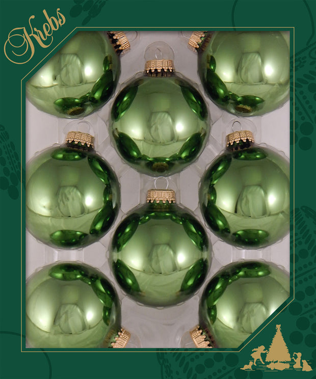 "2 5/8"" (67mm) Ball Ornaments, Gold Caps, Jungle Green Shine, 8/Box, 12/Case, 96 Pieces - Christmas by Krebs Wholesale"