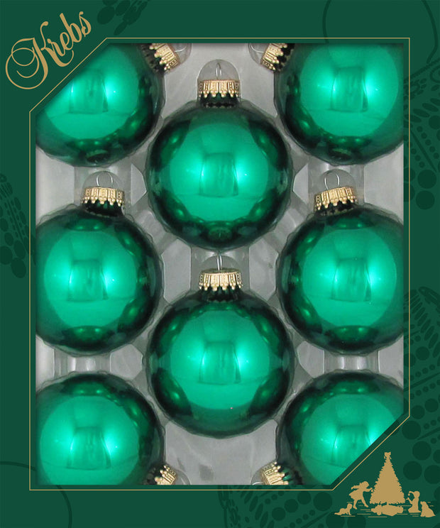 "2 5/8"" (67mm) Ball Ornaments, Gold Caps, Emerald Green, 8/Box, 12/Case, 96 Pieces"