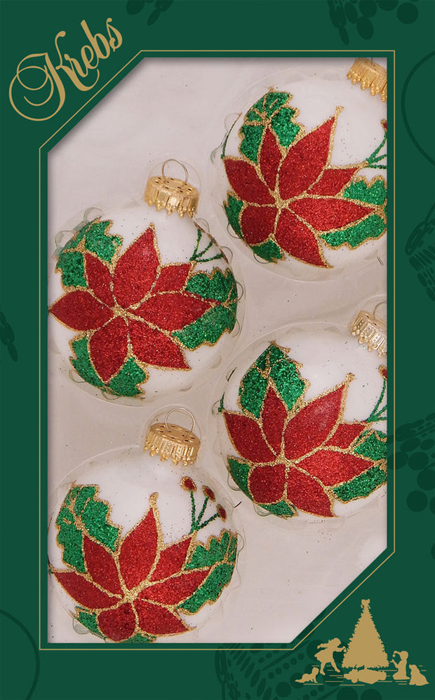"2 5/8"" (67mm) Ball Ornaments, Large Poinsettia, Red/White, 4/Box, 12/Case, 48 Pieces"