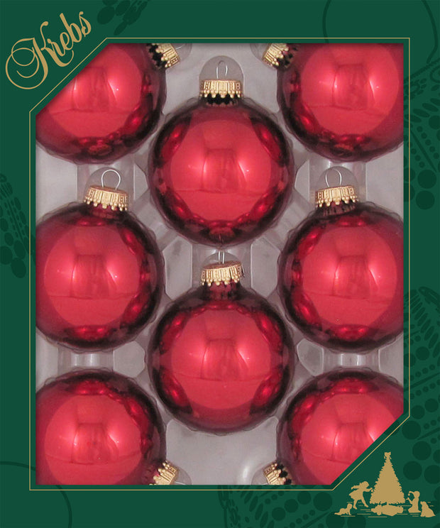 "2 5/8"" (67mm) Ball Ornaments, Gold Caps, December Red, 8/Box, 12/Case, 96 Pieces"