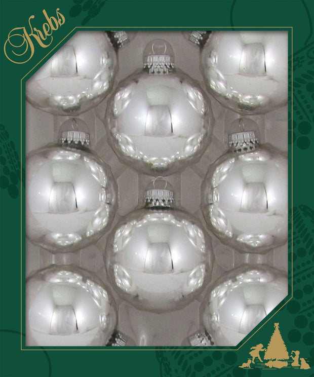 "2 5/8"" (67mm) Ball Ornaments, Silver Caps, Bright Silver, 8/Box, 12/Case, 96 Pieces"