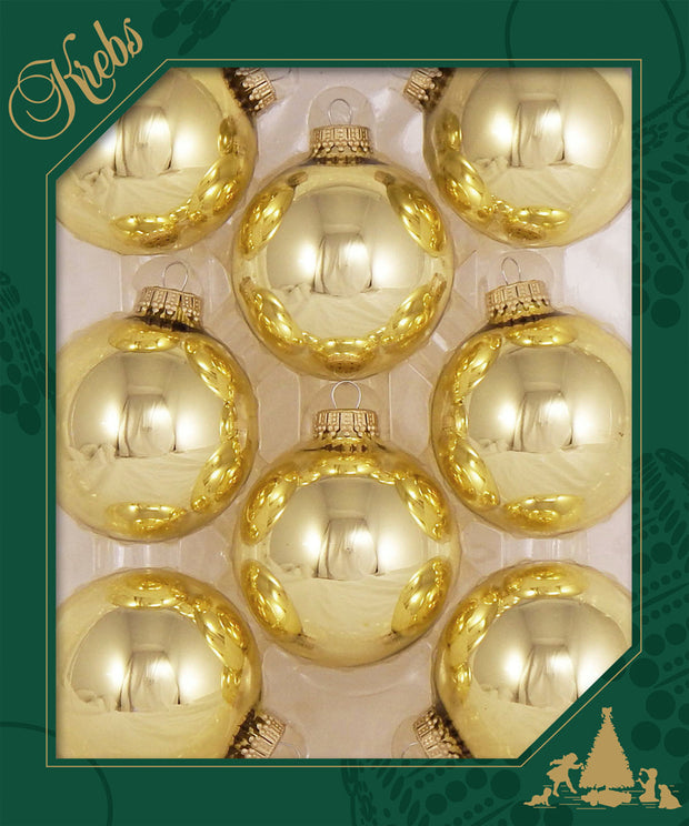 "2 5/8"" (67mm) Ball Ornaments, Gold Caps, Aztec Gold, 8/Box, 12/Case, 96 Pieces"