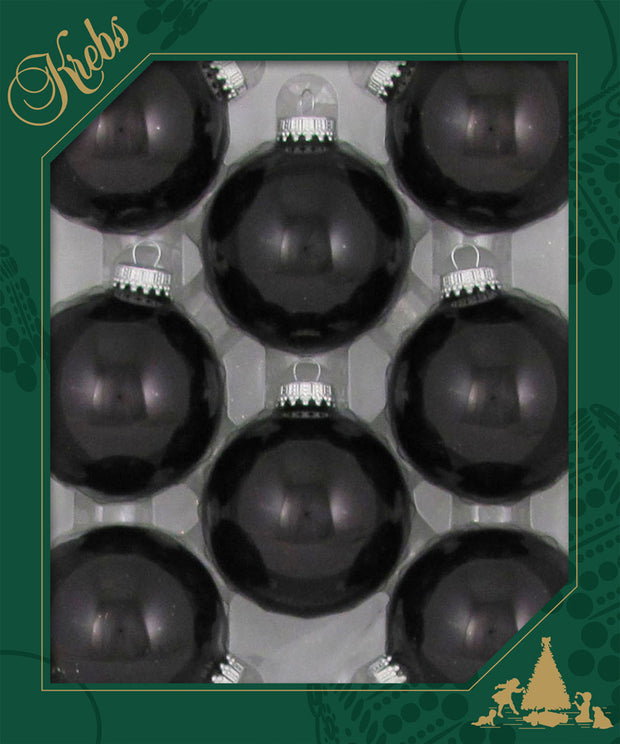 "2 5/8"" (67mm) Ball Ornaments, Silver Caps, Ebony Shine, 8/Box, 12/Case, 96 Pieces - Christmas by Krebs Wholesale"