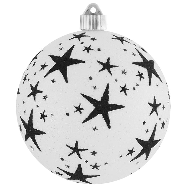 "6"" (150mm) Decorated Commercial Shatterproof Ball Ornaments, Snowball Glitter White/Black, 1/Box, 12/Case, 12 Pieces"