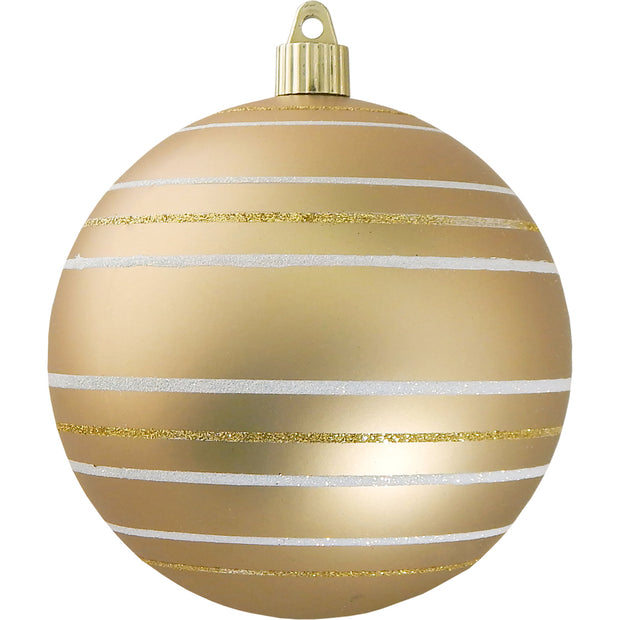 "4 3/4"" (120mm) Jumbo Commercial Shatterproof Ball Ornament, Gold Dust, Case, 24 Pieces"