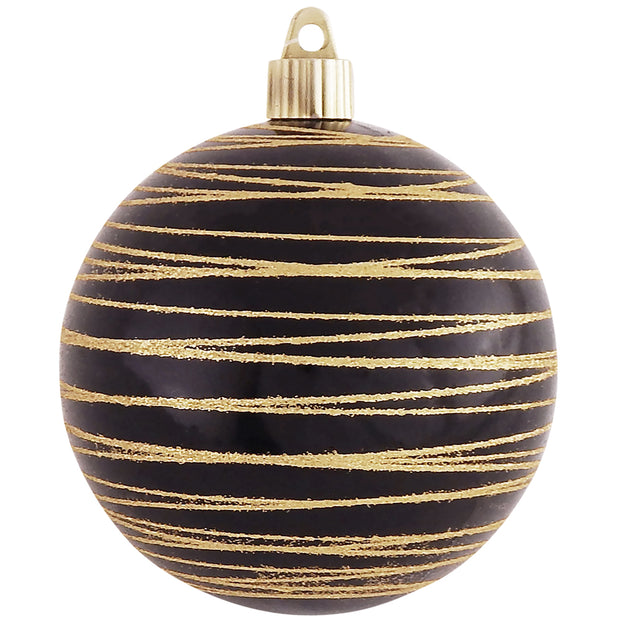 "4"" (100mm) Large Commercial Shatterproof Ball Ornament, Onyx, Case, 24 Pieces - Christmas by Krebs Wholesale"