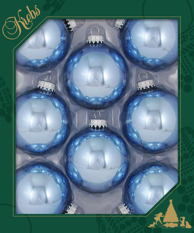 "2 5/8"" (67mm) Ball Ornaments, Silver Caps, Alpine Shine, 8/Box, 12/Case, 96 Pieces - Christmas by Krebs Wholesale"