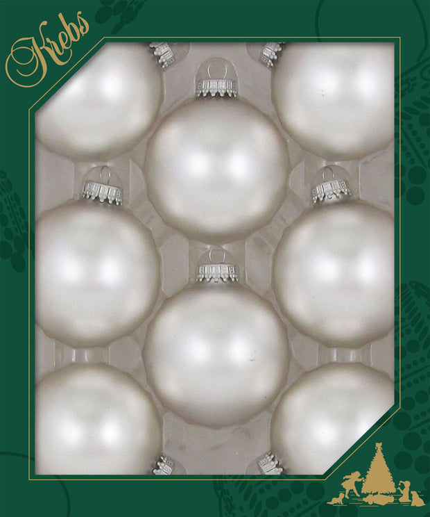 "2 5/8"" (67mm) Ball Ornaments, Silver Caps, Sterling Silver, 8/Box, 12/Case, 96 Pieces"