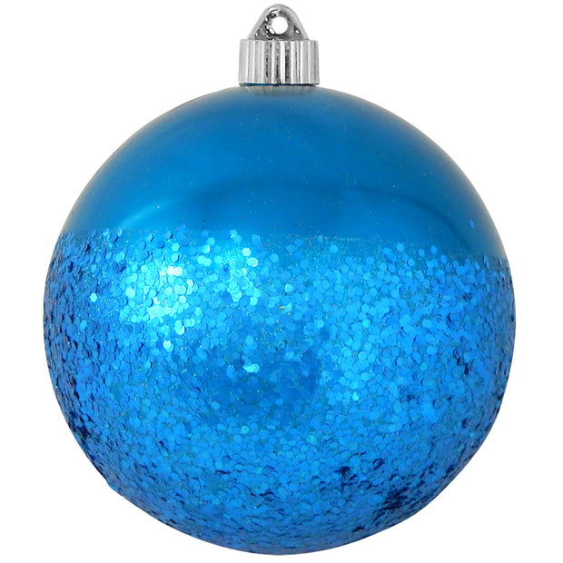"6"" (150mm) Decorated Commercial Shatterproof Ball Ornaments, Balmy Seas Blue, 1/Box, 12/Case, 12 Pieces"