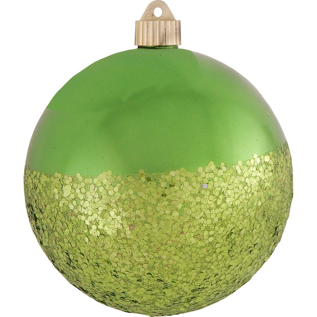 "6"" (150mm) Decorated Commercial Shatterproof Ball Ornaments, Limeade Green, 1/Box, 12/Case, 12 Pieces"