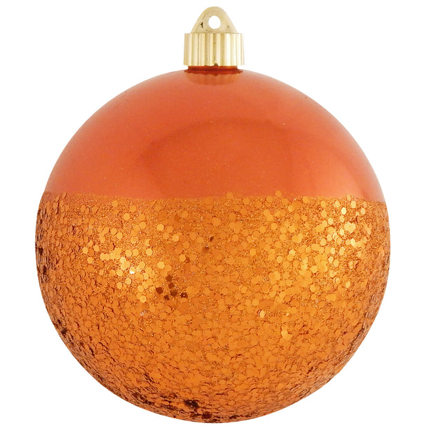 "6"" (150mm) Decorated Commercial Shatterproof Ball Ornaments, Mandarin Orange, 1/Box, 12/Case, 12 Pieces"