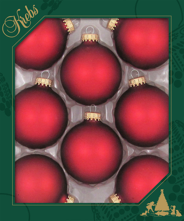 "2 5/8"" (67mm) Ball Ornaments, Gold Caps, Red Velvet, 8/Box, 12/Case, 96 Pieces"