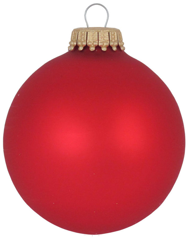 "2 5/8"" (67mm) Ball Ornaments, Gold Caps, Flame Red, 8/Box, 12/Case, 96 Pieces"