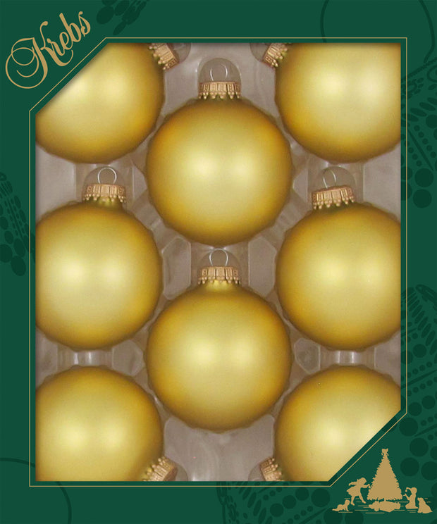 "2 5/8"" (67mm) Ball Ornaments, Gold Caps, Gold, 8/Box, 12/Case, 96 Pieces"