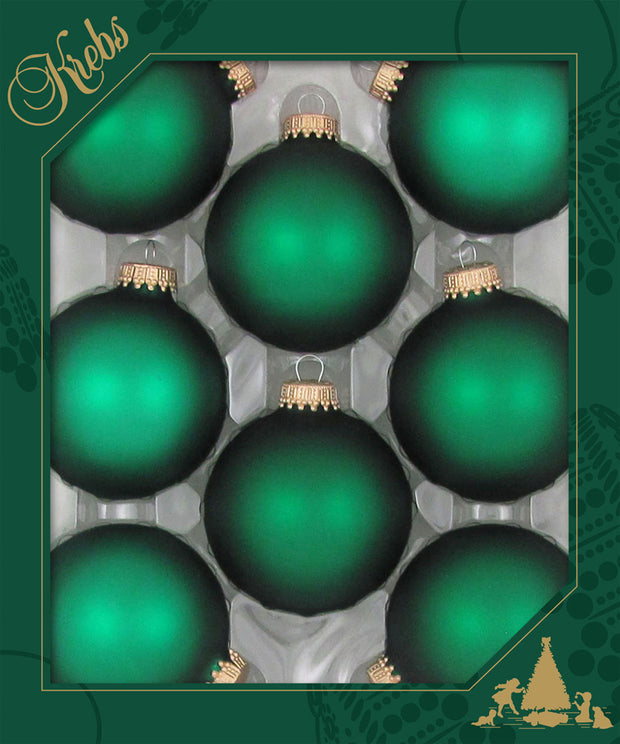"2 5/8"" (67mm) Ball Ornaments, Gold Caps, Green Velvet, 8/Box, 12/Case, 96 Pieces"