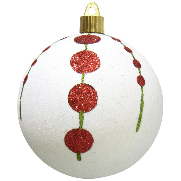 "4"" (100mm) Large Commercial Shatterproof Ball Ornament, Snowball Glitter, Case, 24 Pieces - Christmas by Krebs Wholesale"