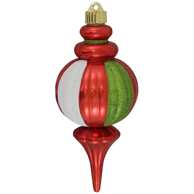 "8 2/3"" (220mm) Decorated Commercial Shatterproof Finial Ornaments, True Love Red, 1/Box, 12/Case, 12 Pieces"