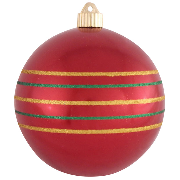 "6"" (150mm) Decorated Commercial Shatterproof Ball Ornaments, Sonic Red, 1/Box, 12/Case, 12 Pieces"