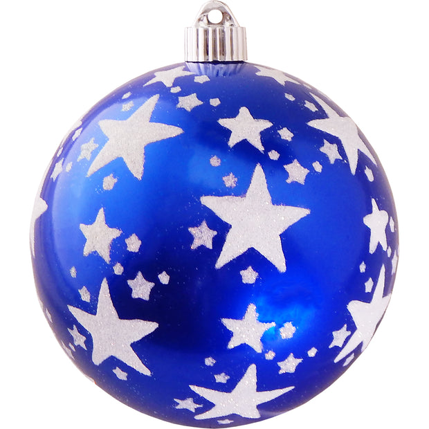 "6"" (150mm) Decorated Commercial Shatterproof Ball Ornaments, Azure Blue, 1/Box, 12/Case, 12 Pieces"