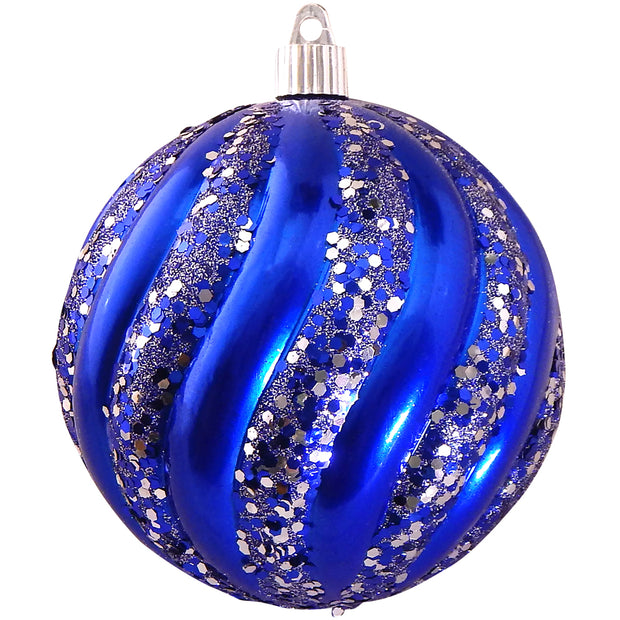"4 3/4"" (120mm) Jumbo Commercial Shatterproof Ball Ornament, Azure Blue, Case, 24 Pieces"