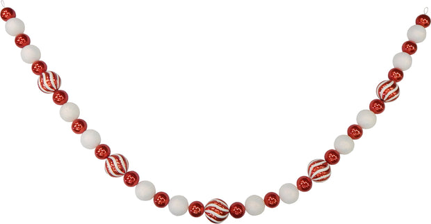 11' Giant Commercial Shatterproof Ball Garland, Red/White, Case, 1 Piece - Christmas by Krebs Wholesale