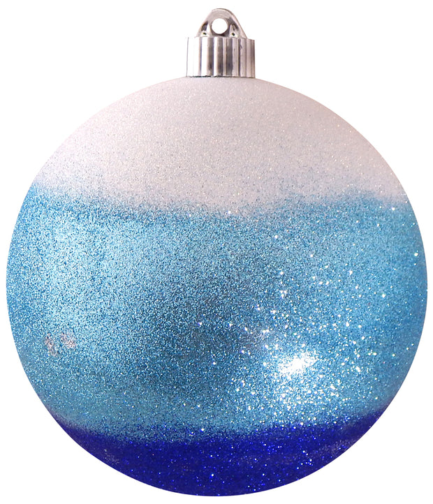 "6"" (150mm) Decorated Commercial Shatterproof Ball Ornaments, Serenity Blue/White, 1/Box, 12/Case, 12 Pieces"