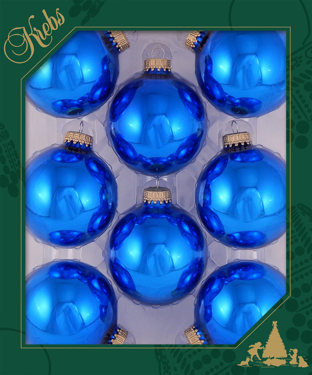 "2 5/8"" (67mm) Ball Ornaments, Gold Caps, Classic Blue Shine, 8/Box, 12/Case, 96 Pieces"