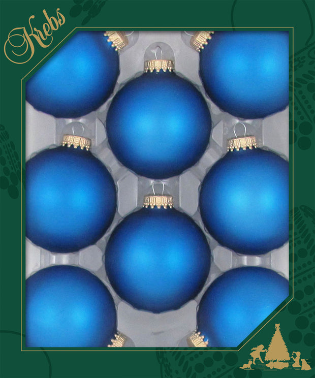 "2 5/8"" (67mm) Ball Ornaments, Gold Caps, Classic Blue, 8/Box, 12/Case, 96 Pieces"