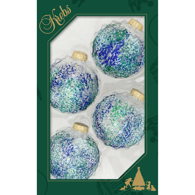"2 5/8"" (67mm) Ball Ornaments, Sponged Glitter, Clear/Multi, 4/Box, 12/Case, 48 Pieces"