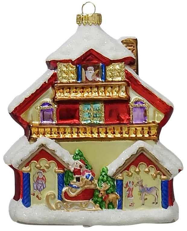 "5 1/4"" (133mm) Santa's House Figurine Ornaments, 1/Box, 6/Case, 6 Pieces - Christmas by Krebs Wholesale"