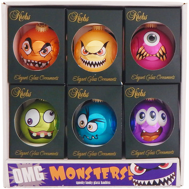 "3 1/4"" (80mm) Ball Ornaments, Monster Faces, Multi, 1/Box, 12/Case, 12 Pieces"
