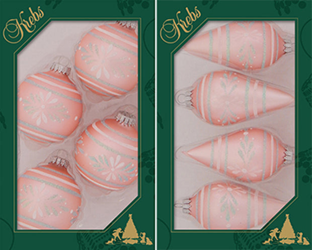 "3 5/8"" (67mm) Glass Finials, Coral Velvet, 12/Box, 4/Case, 48 Pieces - Christmas by Krebs Wholesale"