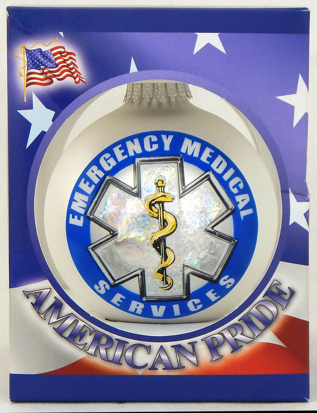 "3 1/4"" (80mm) Ball Ornaments, First Responder Logos, Multi, 1/Box, 12/Case, 12 Pieces - Christmas by Krebs Wholesale"
