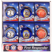 "3 1/4"" (80mm) Ball Ornaments, First Responder Logos, Multi, 1/Box, 12/Case, 12 Pieces"