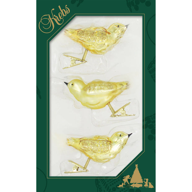 "5 3/4"" (146mm) Gold Clip-On Birds Figurine Ornaments, 3/Box, 12/Case, 36 Pieces"