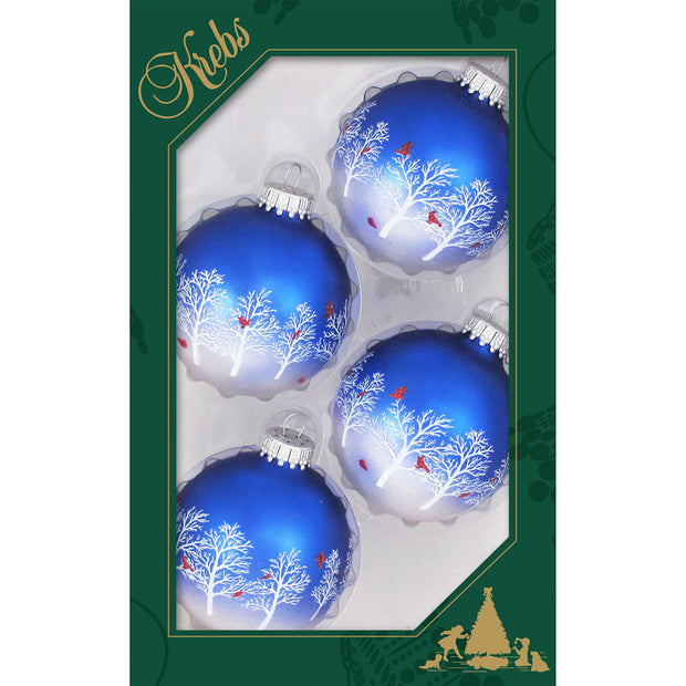 "2 5/8"" (67mm) Ball Ornaments, Trees and Cardinals, Multi, 4/Box, 12/Case, 48 Pieces"