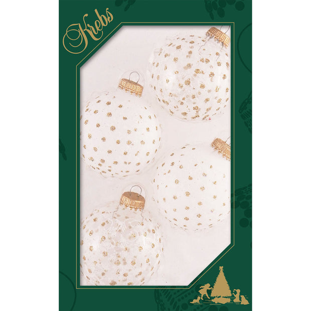 "2 5/8"" (67mm) Ball Ornaments, Lace and Sparkles, White/Gold, 4/Box, 12/Case, 48 Pieces"