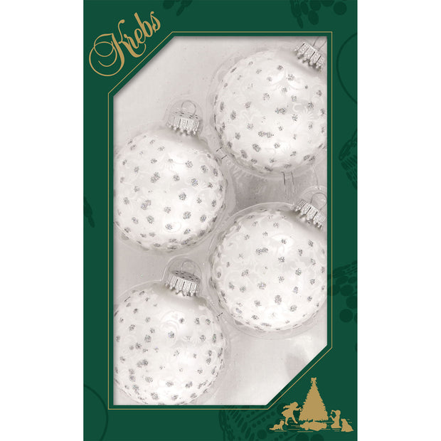 "2 5/8"" (67mm) Ball Ornaments, Lace and Sparkles, White/Silver, 4/Box, 12/Case, 48 Pieces"