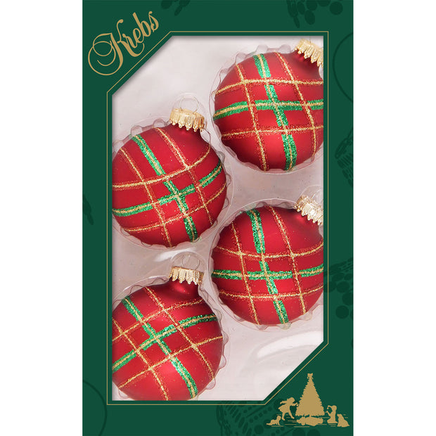 "2 5/8"" (67mm) Ball Ornaments, Diagonal Plaid, Red Velvet, 4/Box, 12/Case, 48 Pieces - Christmas by Krebs Wholesale"