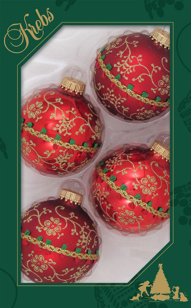 "2 5/8"" (67mm) Glitterlace and Braid Glass Ball Ornaments, Christmas Red, 4/Box, 12/Case, 48 Pieces"