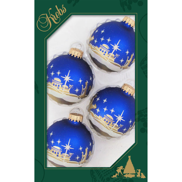 "2 5/8"" (67mm) Ball Ornaments, Glitter Bethlehem Scene, Multi, 4/Box, 12/Case, 48 Pieces"
