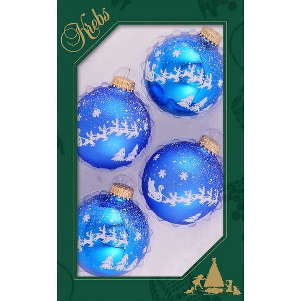 "2 5/8"" (67mm) Ball Ornaments, White Christmas Eve, Blue Shine, 4/Box, 12/Case, 48 Pieces"