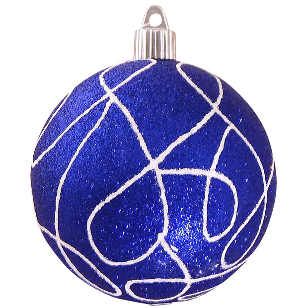 "4"" (100mm) Large Commercial Shatterproof Ball Ornament, Dark Blue Glitter, Case, 24 Pieces - Christmas by Krebs Wholesale"