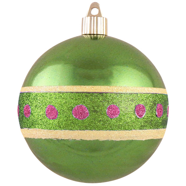 "4"" (100mm) Large Commercial Shatterproof Ball Ornament, Limeade, Case, 24 Pieces"