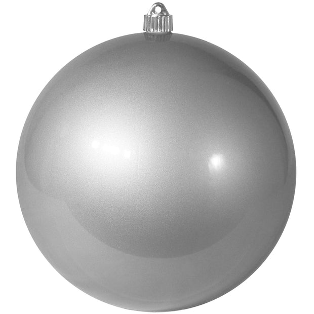 "8"" (200mm) Giant Commercial Shatterproof Ball Ornament, Candy Silver, Case, 6 Pieces"