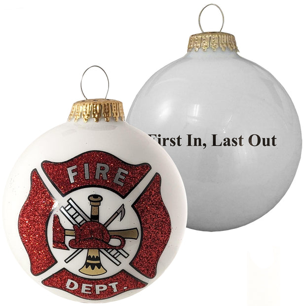 "3 1/4"" (80mm) Porcelain White Glass Ball Ornaments, First Responder Fire Department Logo, 1/Box, 12/Case, 12 Pieces"