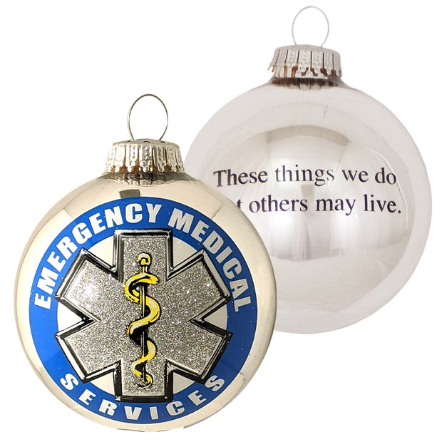 "3 1/4"" (80mm) Bright Silver Glass Ball Ornaments, First Responder EMS Logo, 1/Box, 12/Case, 12 Pieces"