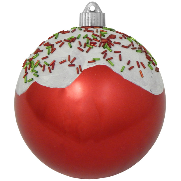 "6"" (150mm) Decorated Commercial Shatterproof Ball Ornaments, True Love Red, 1/Box, 12/Case, 12 Pieces - Christmas by Krebs Wholesale"