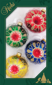 Assorted Sizes Glass Finials, Red/Gold Multi, 12/Box, 4/Case, 48 Pieces - Christmas by Krebs Wholesale
