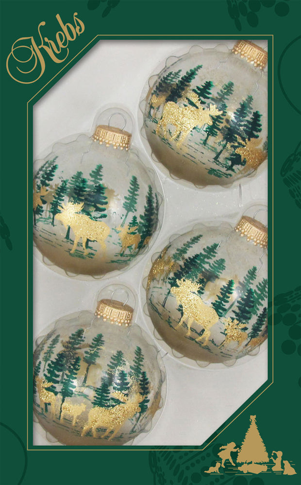 "2 5/8"" (67mm) Ball Ornaments, Moose and Festive Trees, Multi, 4/Box, 12/Case, 48 Pieces"